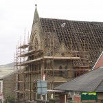 Slates being removed from roof