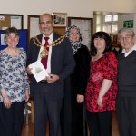 The organisers of the event, Lorraine Brown, Christine Lees and Alan Griffiths, with the Mayor of Oldham, Councillor Fida Hussain and the lady Mayoress, Mrs. Parvin Hussain